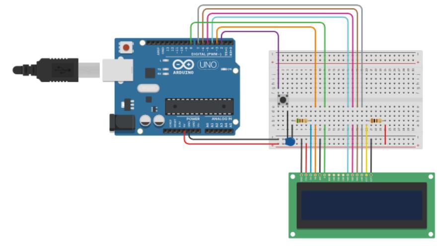 "Circuit design of the ""One button menu Arduino circuit"""