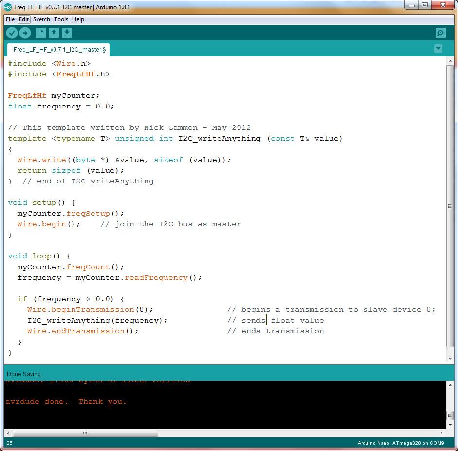 I2C Master sending values code