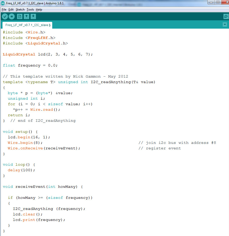 I2C slave receiving values code