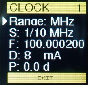 Clock Generator - Clock settings