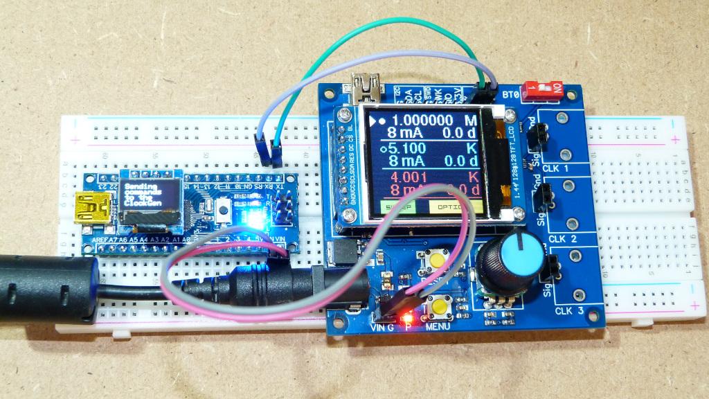 Communication série (UART) entre une carte Arduino et le Générateur d'Horloge